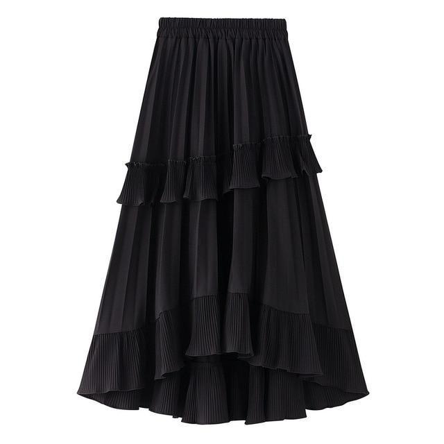 2019 New Autumn Pleated Skirt High Waist Irregular Hem Flouncing Women Long Skirts Saia Women White Skirts Faldas Jupe Femme