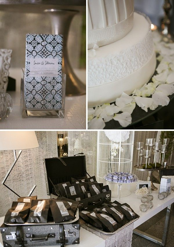 Portugal destination wedding in black and silver