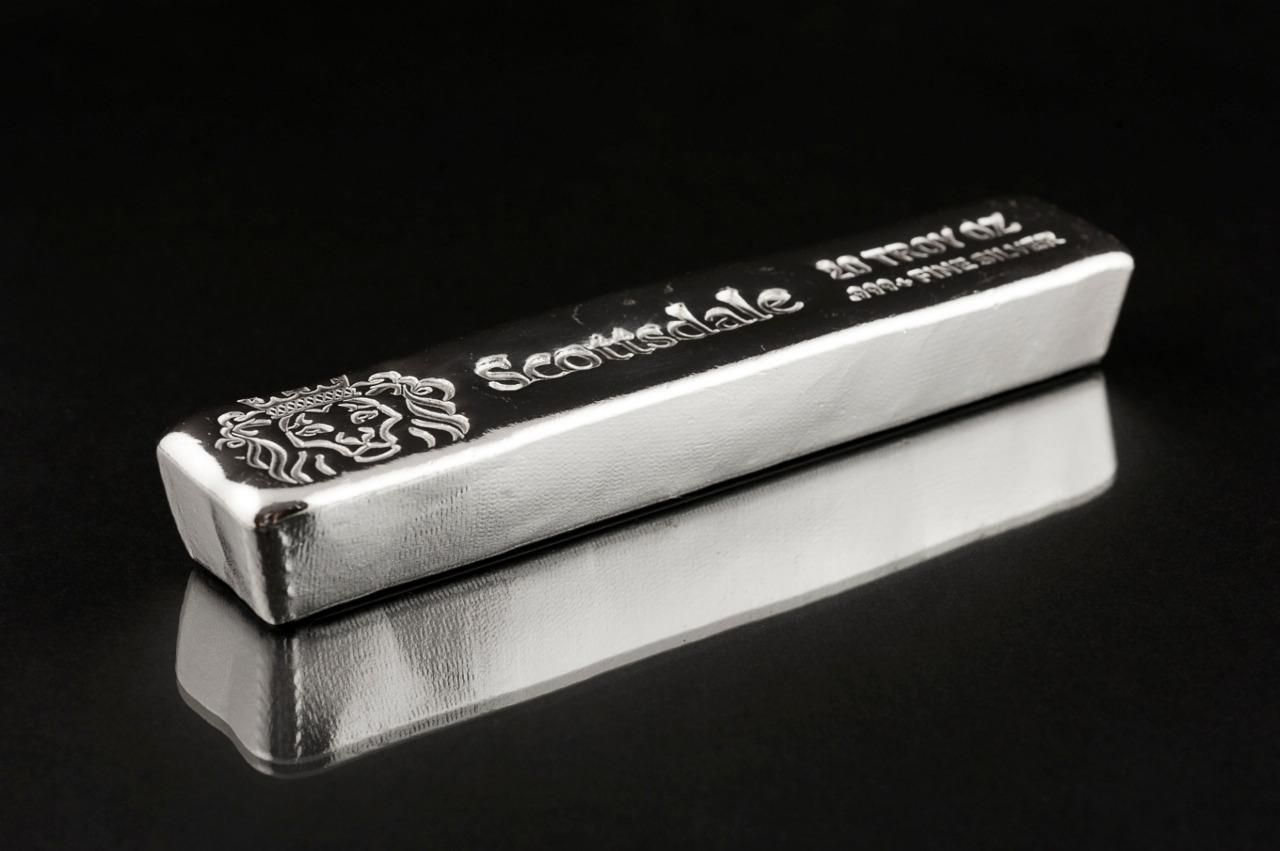 Buy 1 20 Troy Oz Silver Bar Long Cast By Scottsdale Mint 999 Fn Silver Bullion Goldcoins Silver Bullion Silver Bars Gold Investments