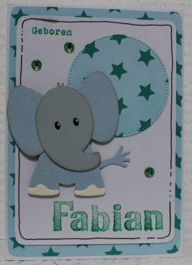 Gemaakt door Joke # geboortekaartje met olifant, Fabian geboren
