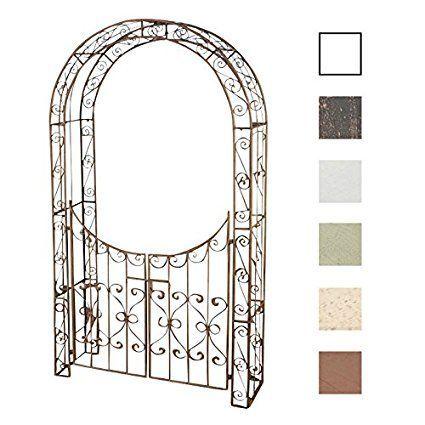 Clp Arche De Jardin Sina Avec Portillon Exclusive Arceau Jardin En Metal Hauteur 235 Cm Largeur 108 5 Cm Marron Antique