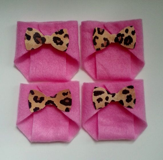 20 Pink Dirty Diaper Game Leopard Bow Baby Shower Game
