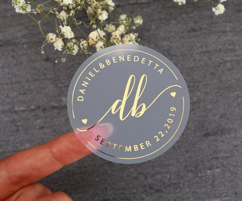 45MM WHITE ROUND PERSONALISED YELLOW GOLD FOIL WEDDING LOGO LABELS STICKERS