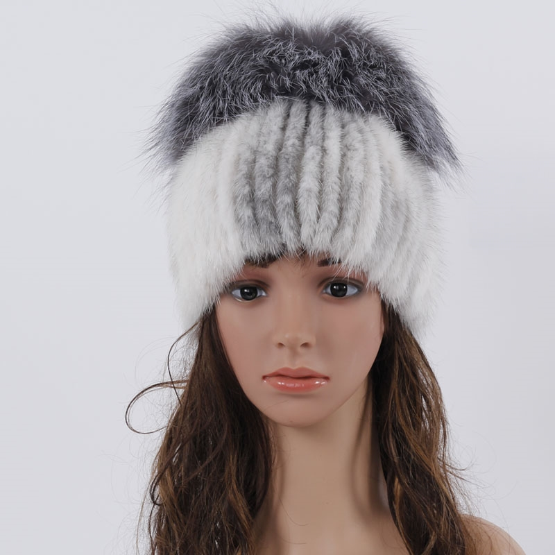 (37.24$)  Know more  - QM new winter fur hats real mink fur hat with silver fox fur top design knitted warm caps good quality fashion fur hats