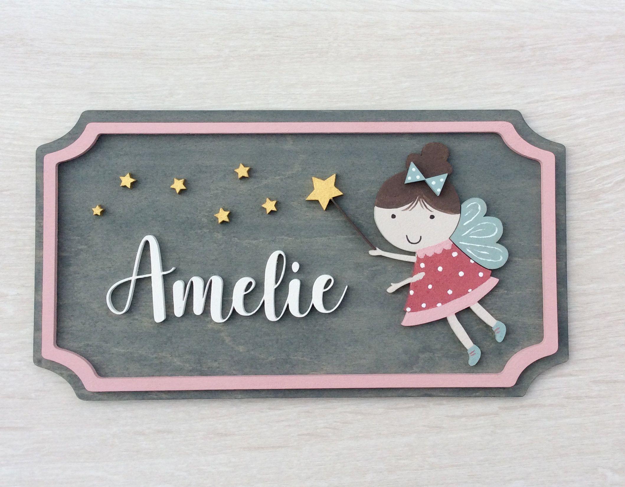 Personalised Fairy Name Plaque Door Sign Girl Baby Cute Wooden