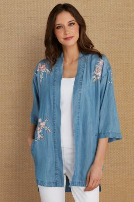 28ff67f9268 Soft Surroundings Embroidered Tencel® Cardi | Products | Tunic tops ...