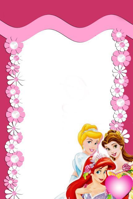 Frame Princess 100 Il Magico Mondo Dei Sogni Disney Princess Printables Disney Scrapbook Disney Invitations