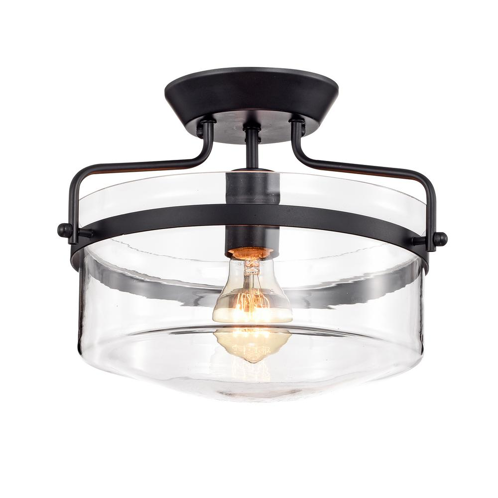 Warehouse Of Tiffany Merwin 1 Light Matte Black Semi Flushmount