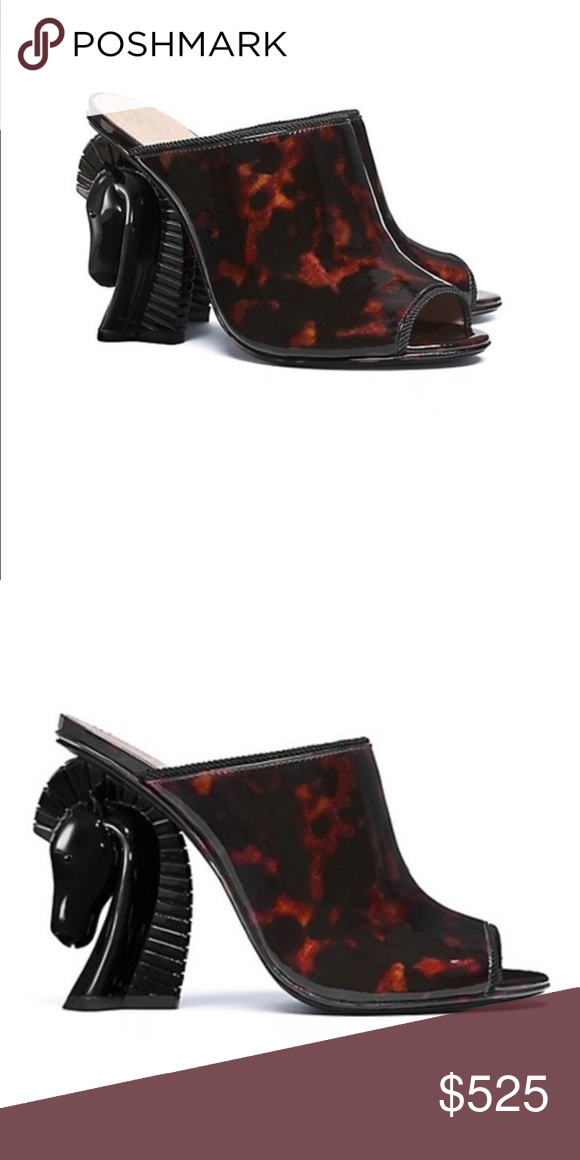 5d8cc5c438c TORY BURCH PATENT LEATHER BARTON HORSE HEEL MULE NEW WITH BOX! This  dramatic shoe rests