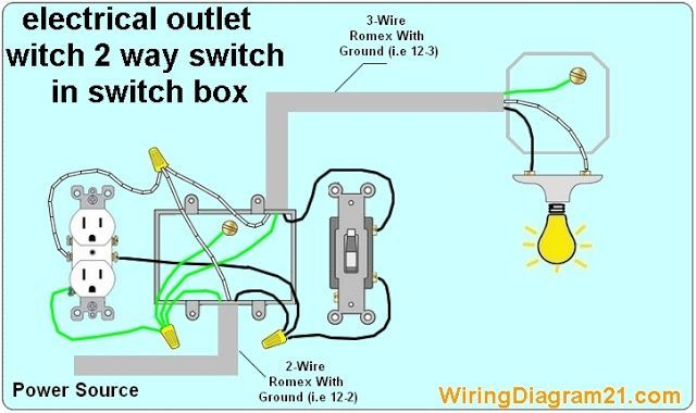 Image Result For How To Wire A 2 Way Light Switch And Light Fixture With Continuing Circuit Light Switch Wiring Outlet Wiring Electrical Outlets
