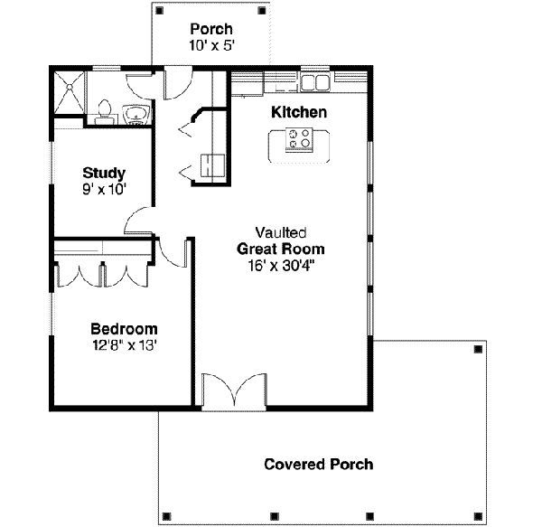 Houses under 700 square feet 960 square feet 1 bedrooms for Small house plans under 700 sq ft