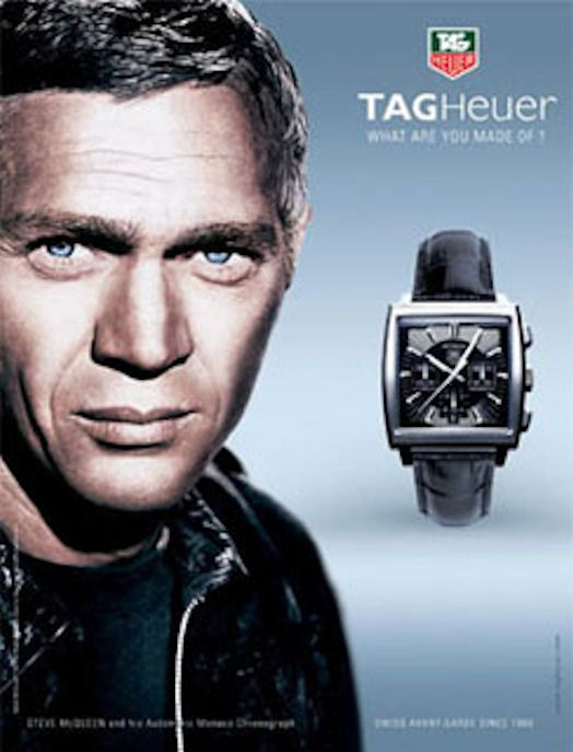 steve mcqueen in tag heuer ad tag heuer timepieces. Black Bedroom Furniture Sets. Home Design Ideas