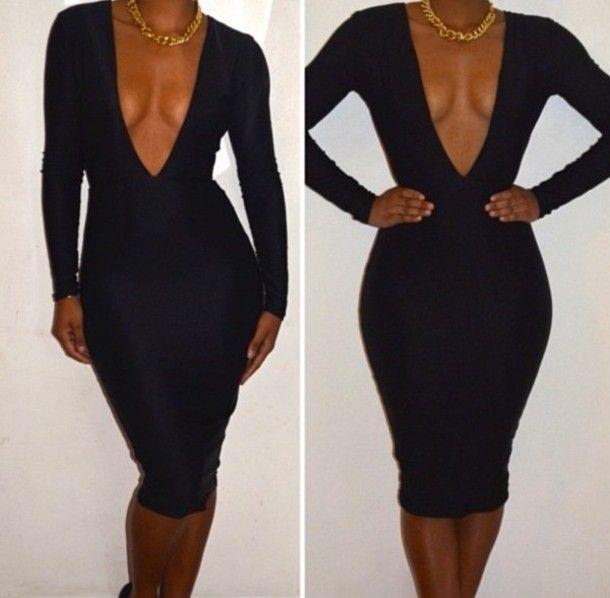 Tight black v neck dress