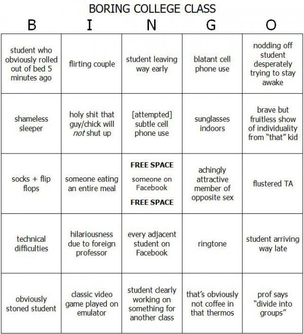 Boring College Class Bingo  How To Keep Yourself Awake