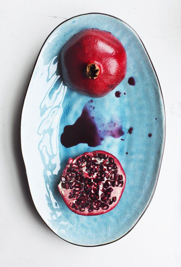 Juicy pomegranates on my plate