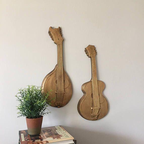 Cast Aluminum Wall Art, Vintage Violin and Mandolin, Mid Century ...