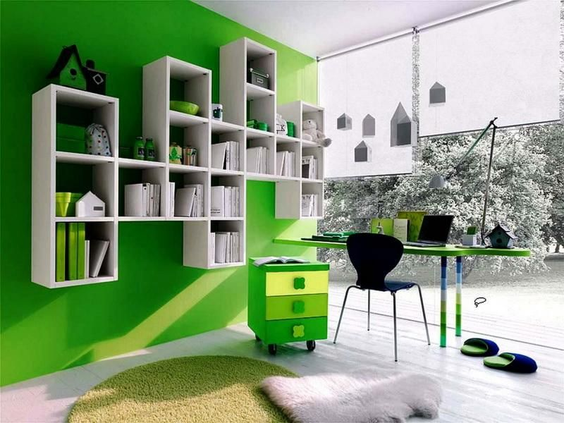 interior design color ideas office workspace home office color scheme idea with green - Interior Design Color Ideas