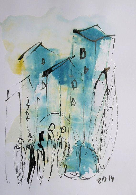 Blaue Stadt Zeichnung Dina4 Blau Gelb Freier Versand Dina4 Feder