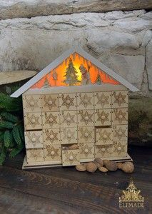 Shabby Chic Traditional Wooden German Light Up Advent Calendar