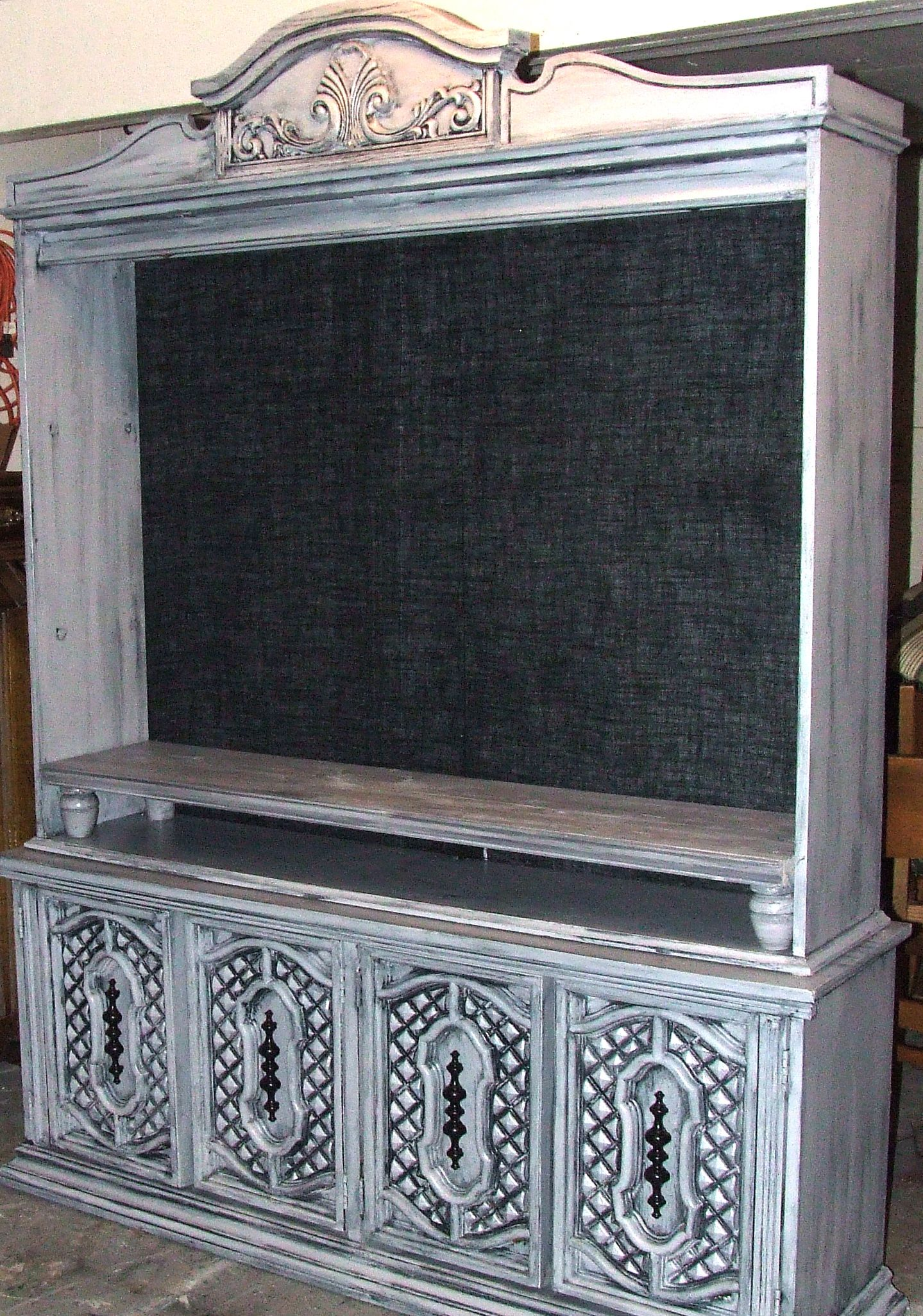 ^ estoration Hardware Inspired Gray hina Hutch abinet converted ...