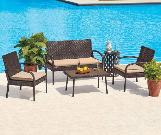 Terrific I Found A Brown 4 Piece All Weather Wicker Seating Set At Ncnpc Chair Design For Home Ncnpcorg
