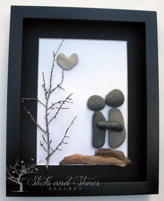 Unique Engagement Gift Personalized Couple's Gift by SticksnStone, $80.00