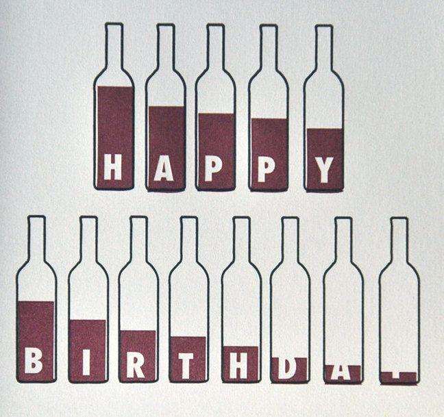 Stationery a z birthday cards for the guys happy birthday bottle of wine birthday card wine lovers letterpress by vandalia street press m4hsunfo