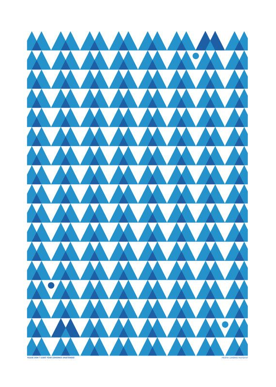 """Teatowel  Blue graphic pattern by HelenaLunding on Etsy. """"Please don´t leave your longings unattended"""""""