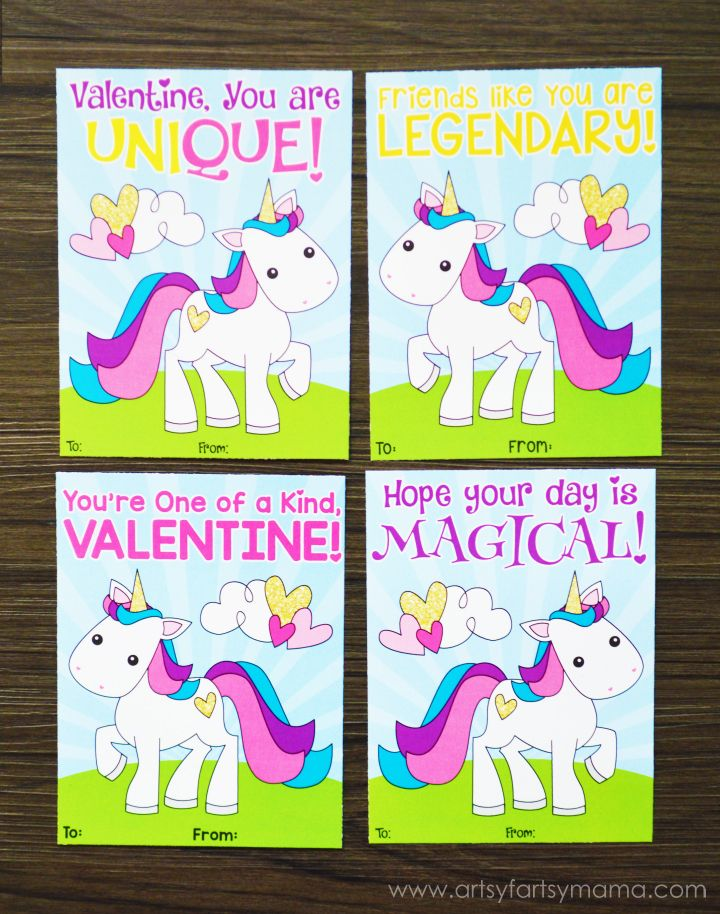 graphic relating to Free Printable Unicorn Valentines referred to as Cost-free Printable Unicorn Valentines Artsy-Fartsy Mama