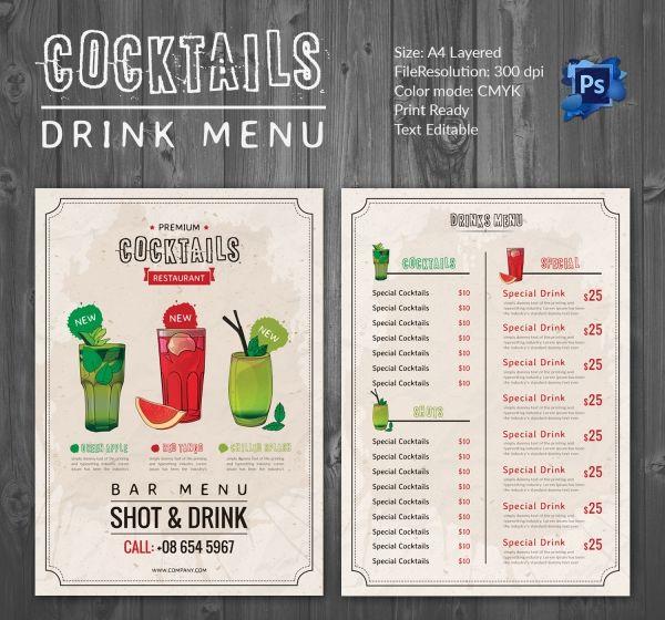 Drinks_Menu_Template-3jpg (600×560) hyjh Pinterest Menu
