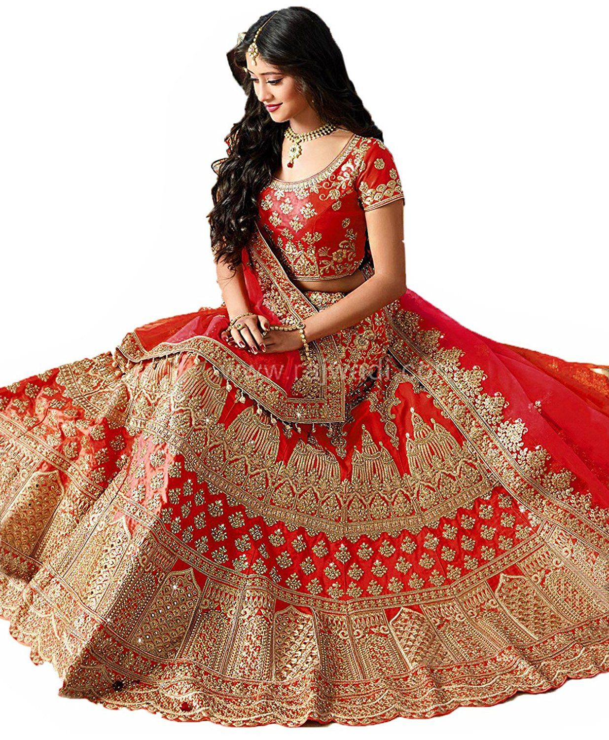 4ce9f074ff7c Rozdeal Women's Taffeta Silk Lehenga Choli (Rdl129-Sn71,Red,Free Size):  Amazon.in: Clothing & Accessories