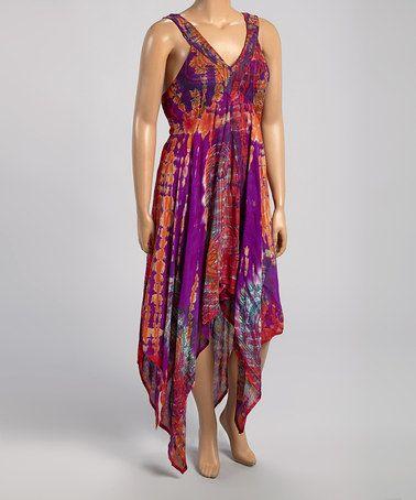 2e0f806bea Another great find on  zulily! Fuchsia   Purple Tie-Dye Handkerchief Dress  - Plus by Metro 22  zulilyfinds