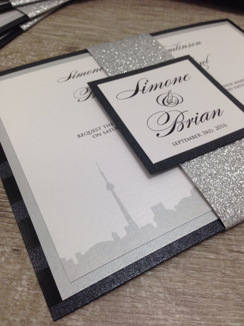 Toronto skyline wedding invitation with glitter belly band from ...