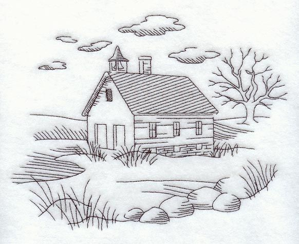 Schoolhouse and Country Scene