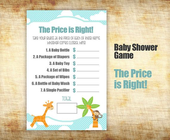 Baby Shower Game - Baby Shower Price is Right - Guess Baby Item ...