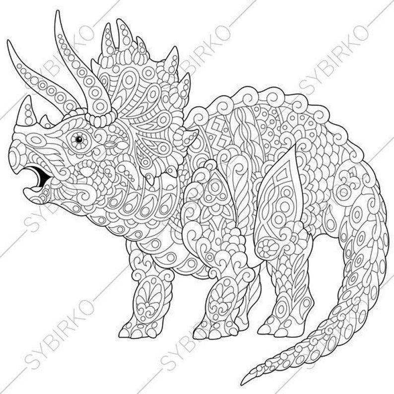 Coloring Pages For Adults Triceratops Dinosaur Dino Colouring Pages Animal Coloring Book Instant Download Print Vozeli Com