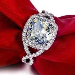 3 Carat Cushion Cut Luxury Quality Simulated Diamond Rings For Women Nscd Synthetic Halo