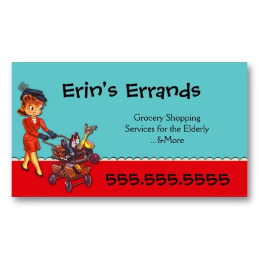 errand services business card by pollyanna graphics grocery shopping services to the elderly more red aqua vintage retro