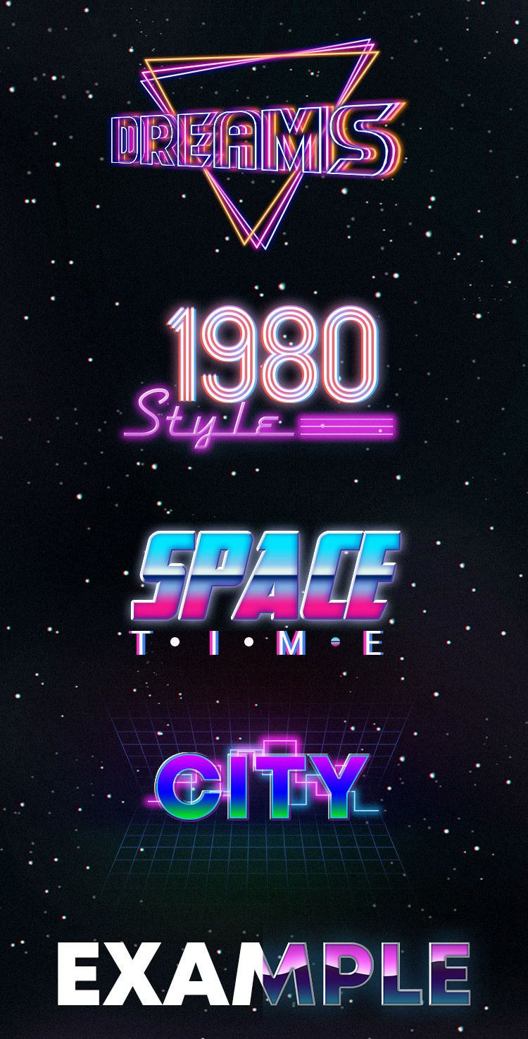 Free 80s Retro Style Text Effect Psd Graphic Design Text Neon Typography Text Effects