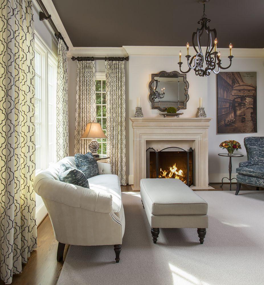 Navy And Gray Living Room. #fireplace #chandelier Lauren