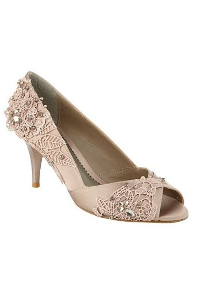 6f0bad43c taupe satin bling peep toe wedding shoes | Shoes Ideas | Wedding ...
