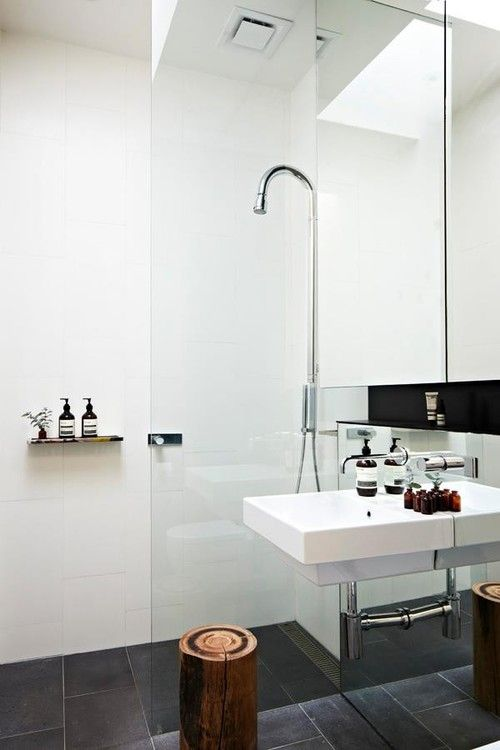 Shower - Simple shower with glass wall.