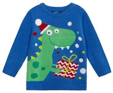 184c41cf10fb bluezoo Boys' blue Christmas dinosaur knit light up jumper ...