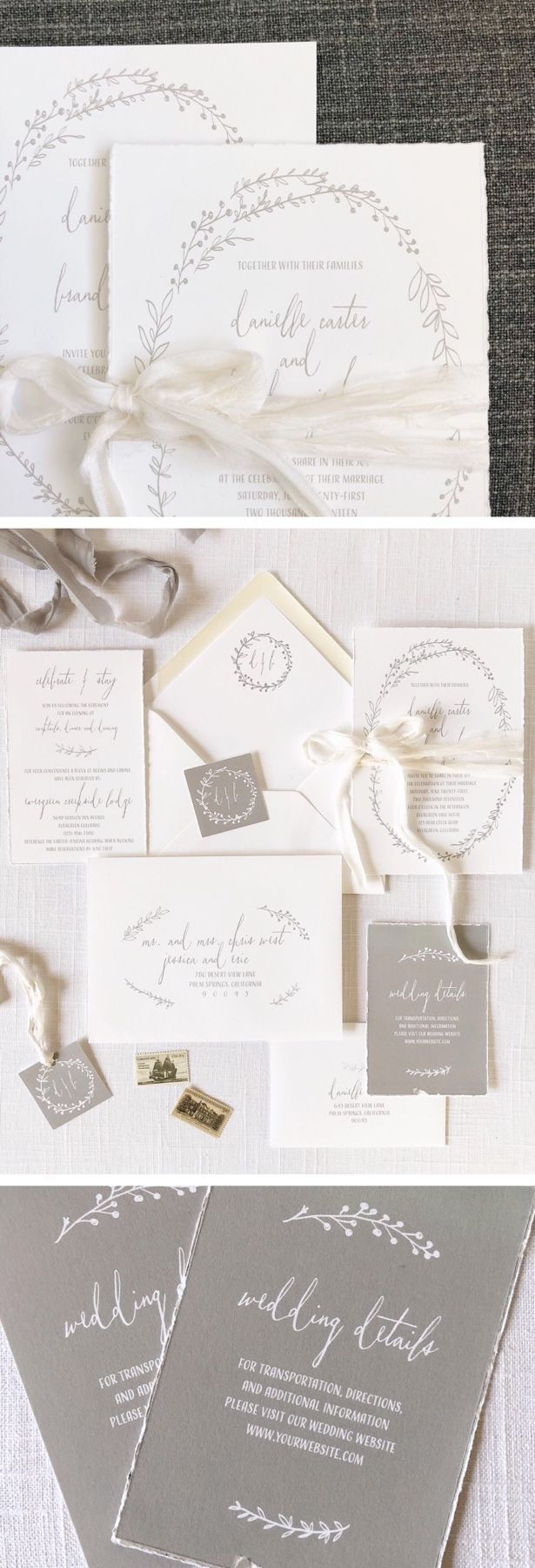 Beautiful organic and natural wedding invitations from Tiger Lily ...