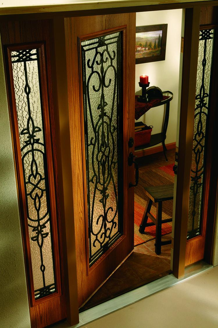 Fiberglass Entry Door Codel Doors Speakeasy Collection Signature Window Wrought Iron Glass Door Wrought Iron Glass Glass Front Entry Doors