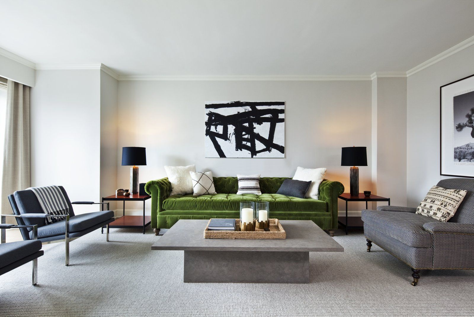Exclusive Tour Nate Berkus Luxurious New Hotel Design Via I Love The Green Sofa Artwork Over Reminds Me Of A Painting My Grandpas Have