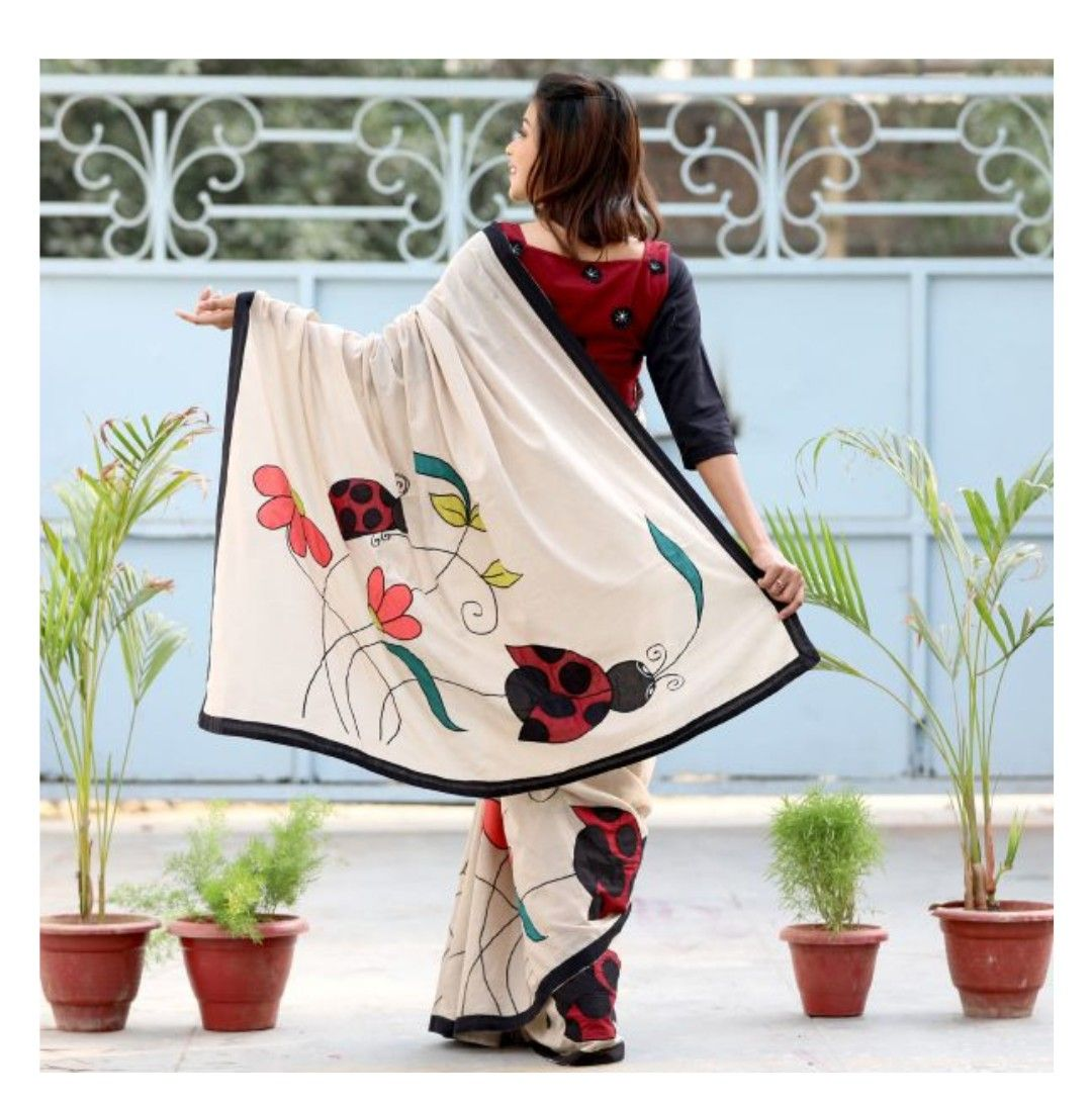 BEIGE LADY BUGS EMBROIDERED COTTON SAREE Saree painting