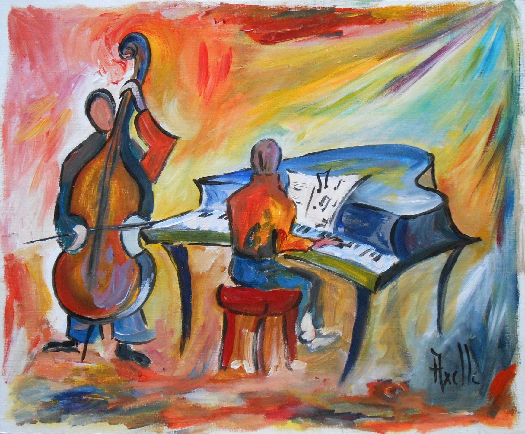 Tableau peinture jazz contrebassiste et pianiste d corations mu - Decorations murales originales ...