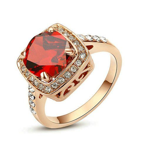 Yoursfs 1.5ct Solitaire Ruby Simulated Diamond 18k Rose Gold Plated Engagement Ring (7)
