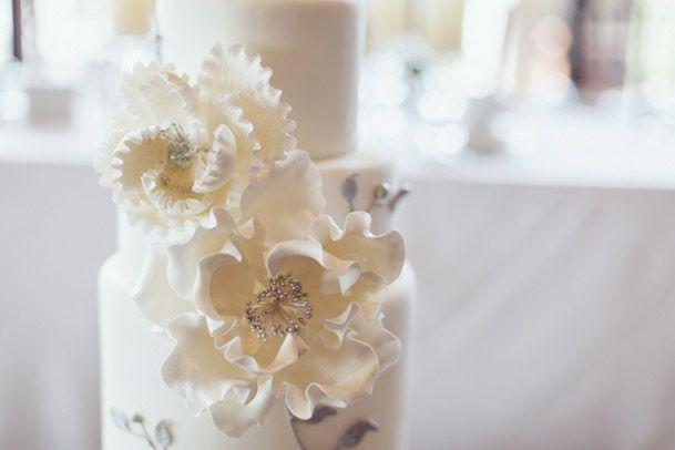 White-silver-fondant-flowers-cake-toronto-Angela Barone